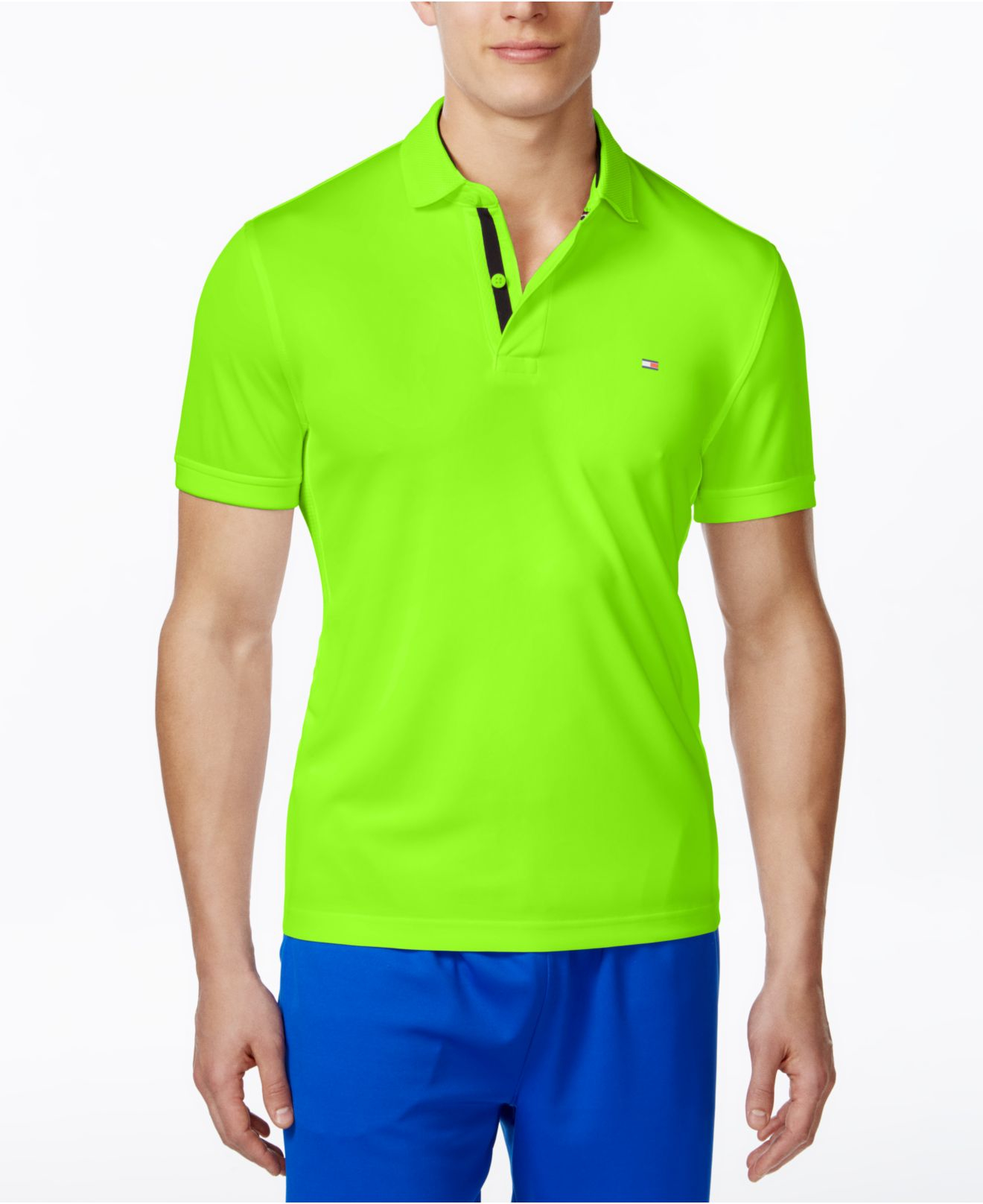 Tommy hilfiger green polo for Neon green shirts for men