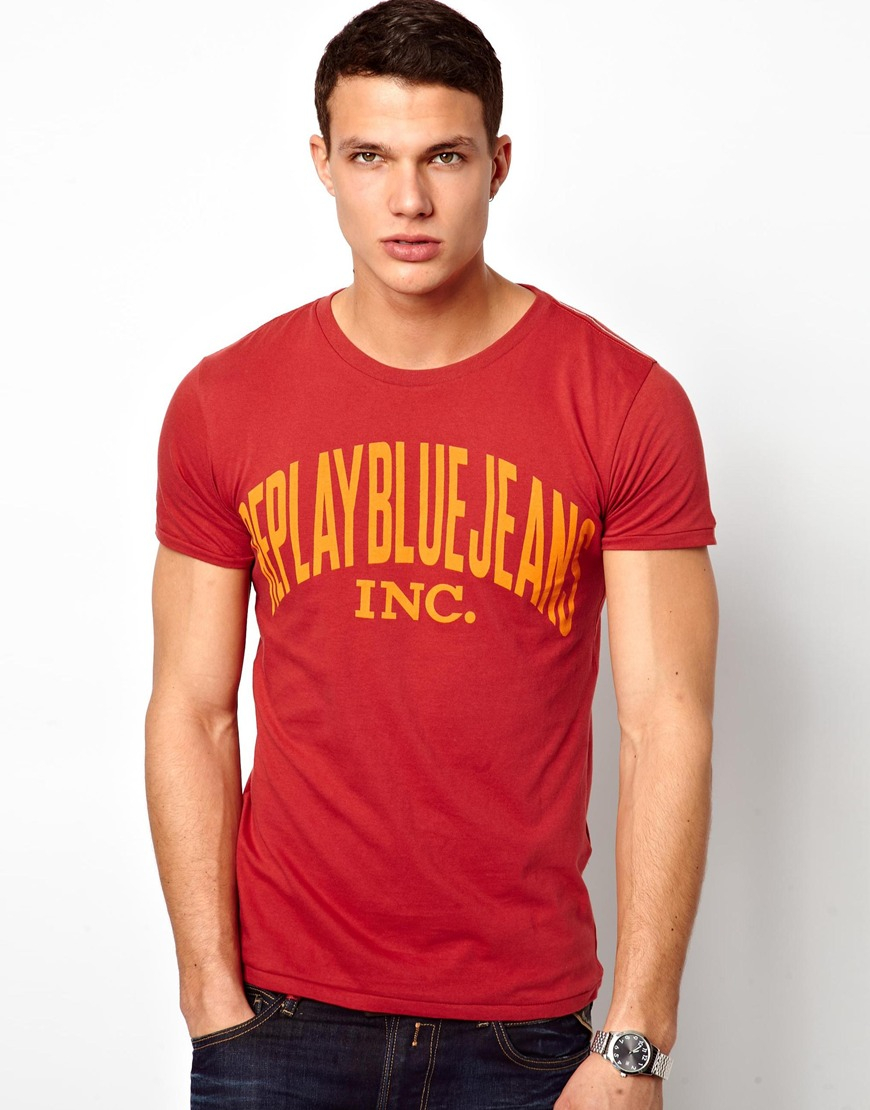 replay tshirt blue jeans logo in red for men lyst. Black Bedroom Furniture Sets. Home Design Ideas
