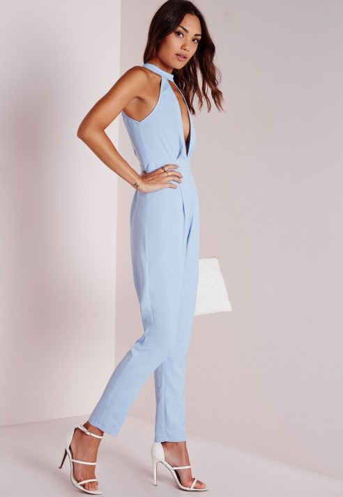 Missguided Split Front Jumpsuit Powder Blue in Blue | Lyst