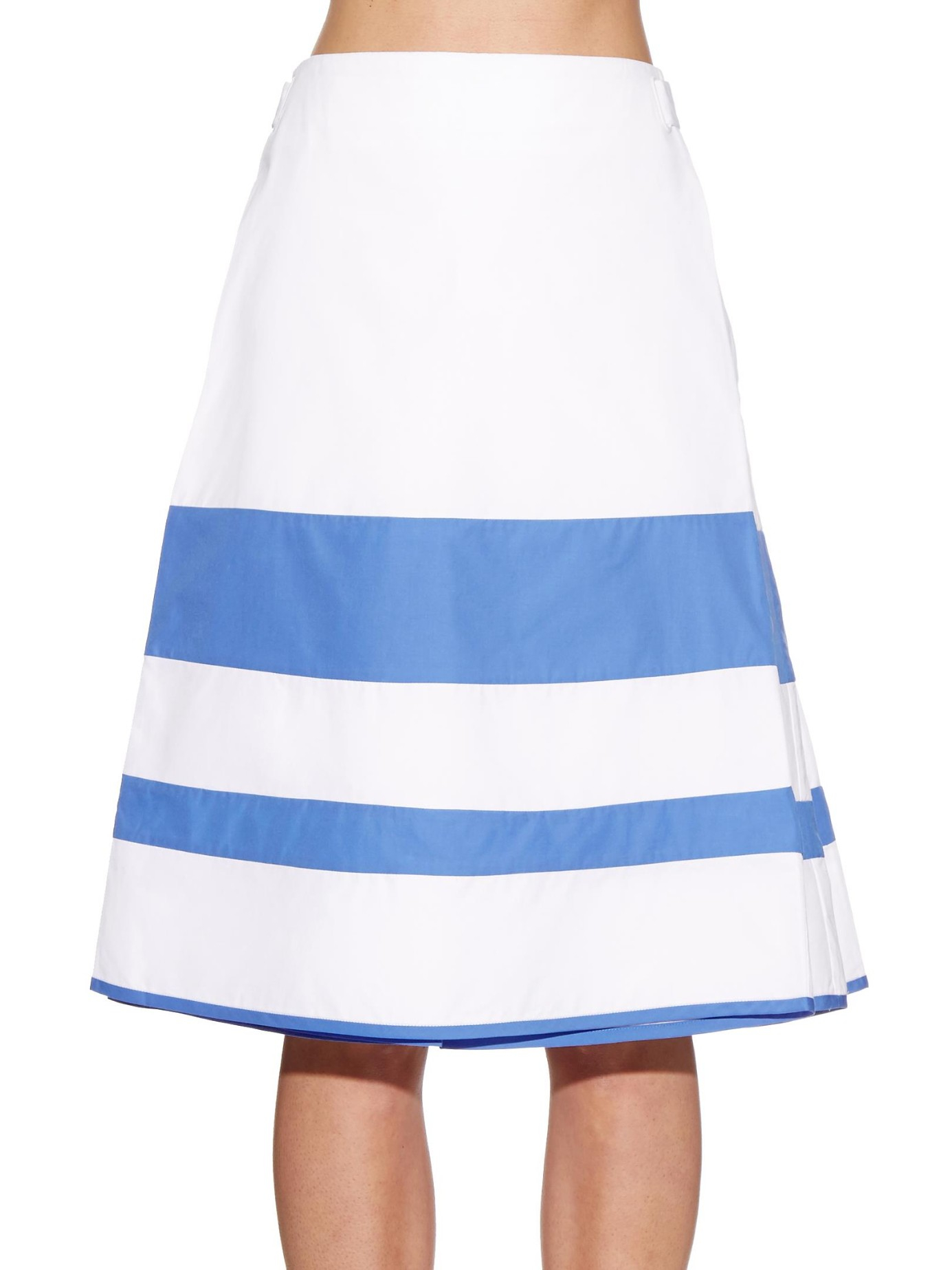trademark car a line striped cotton skirt in blue lyst