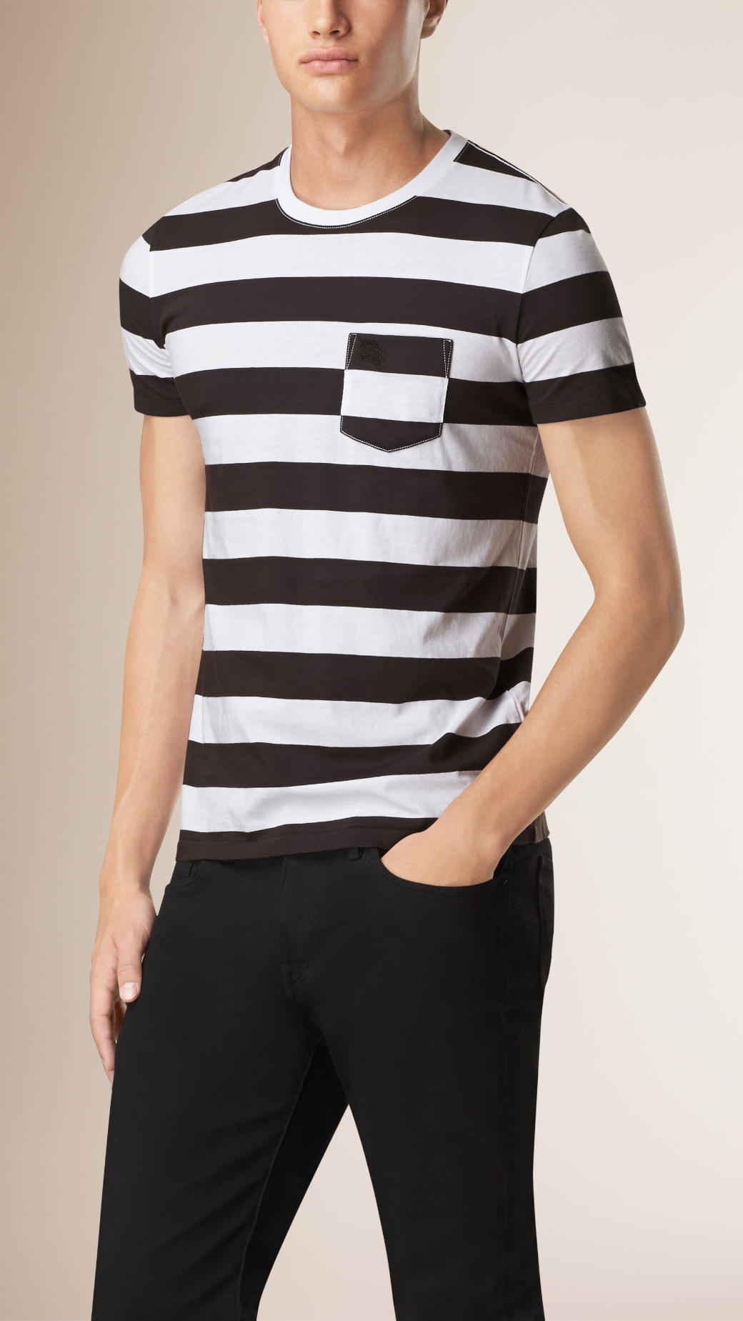 burberry striped cotton t shirt in black for men lyst