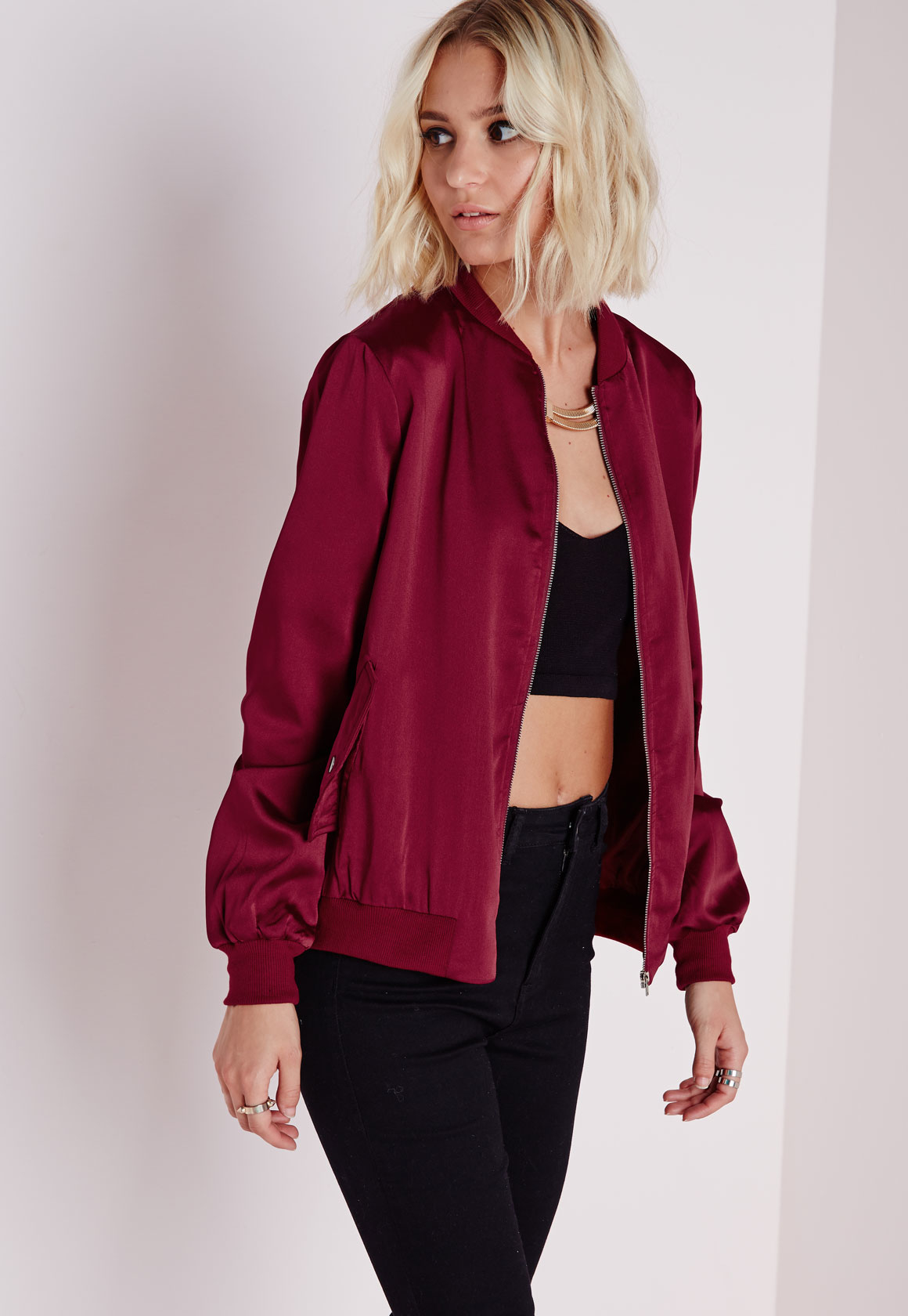 Missguided Satin Bomber Jacket Burgundy in Purple