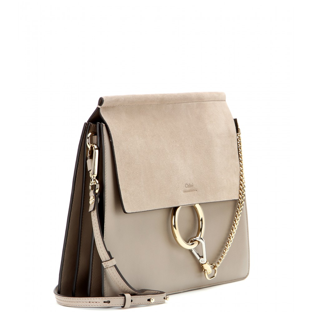 Chloé Faye Leather and Suede Shoulder Bag in Gray | Lyst