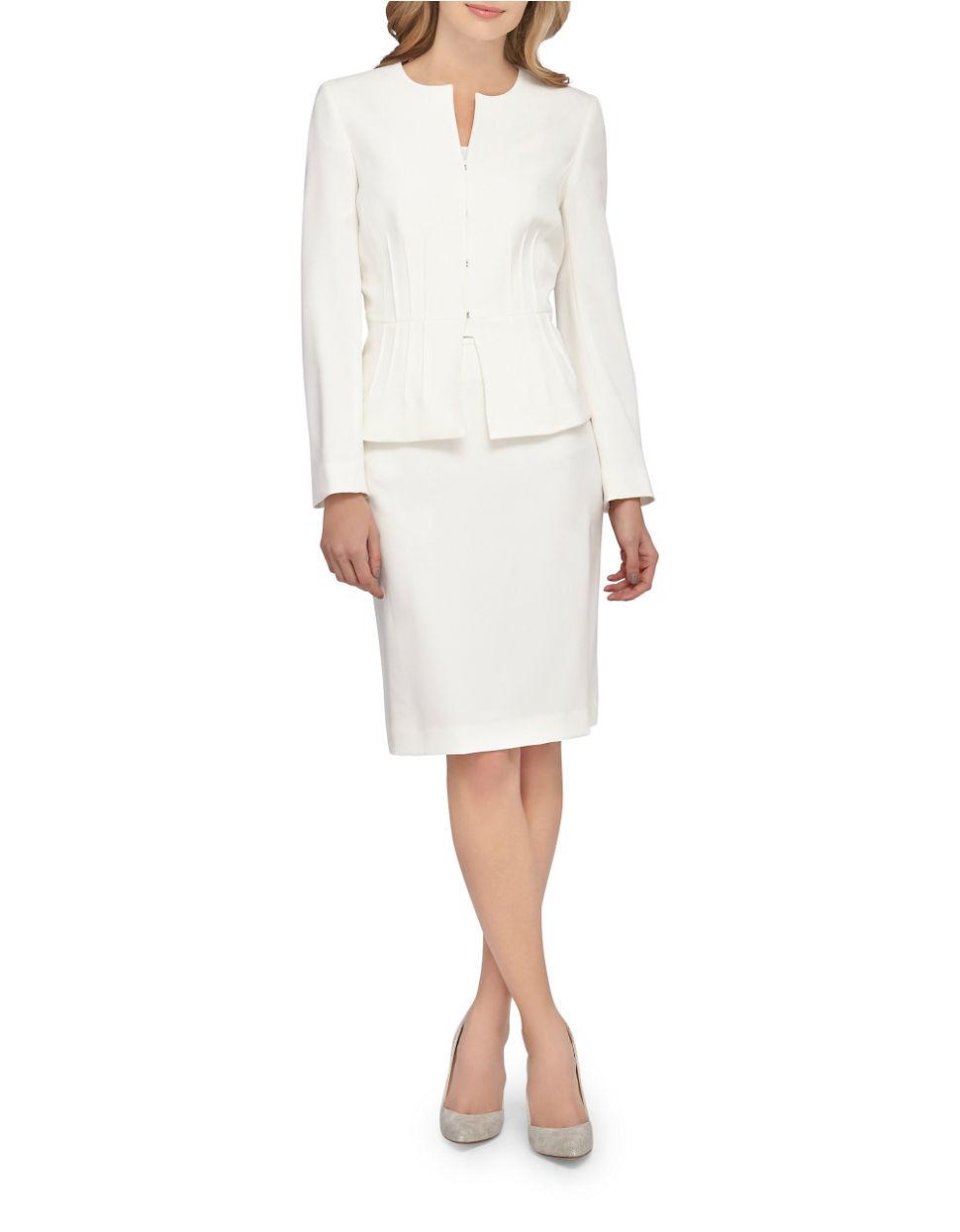 Tahari 2-piece Peplum Jacket And Skirt Set in White - Lyst