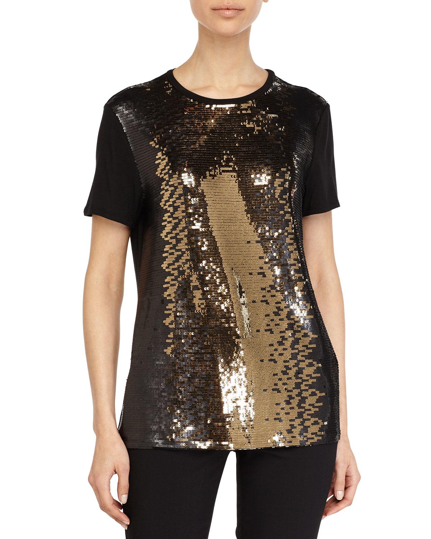 Halston Sequin Embellished Top in Black