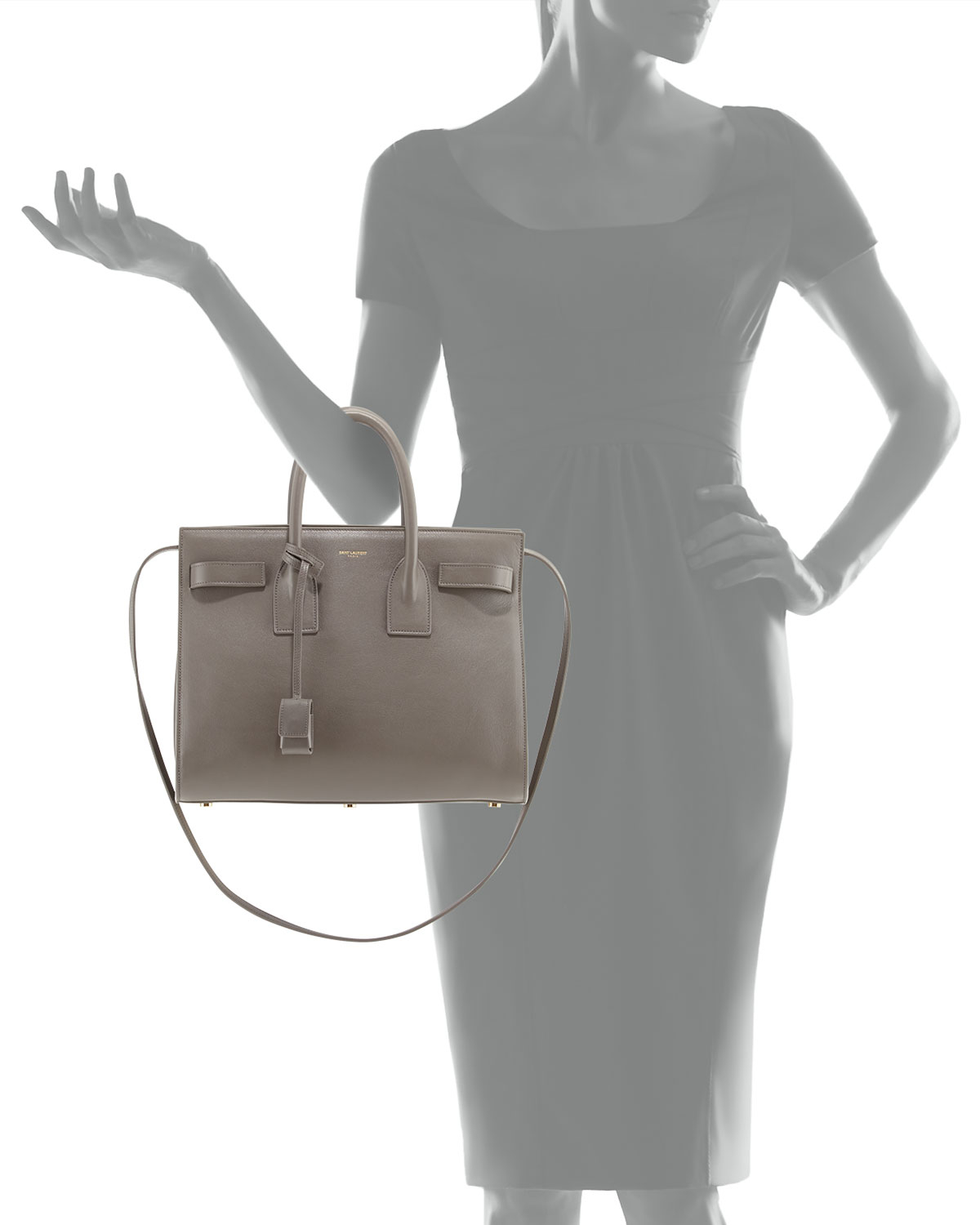 shop ysl clutch - classic small sac de jour bag in fog grained leather