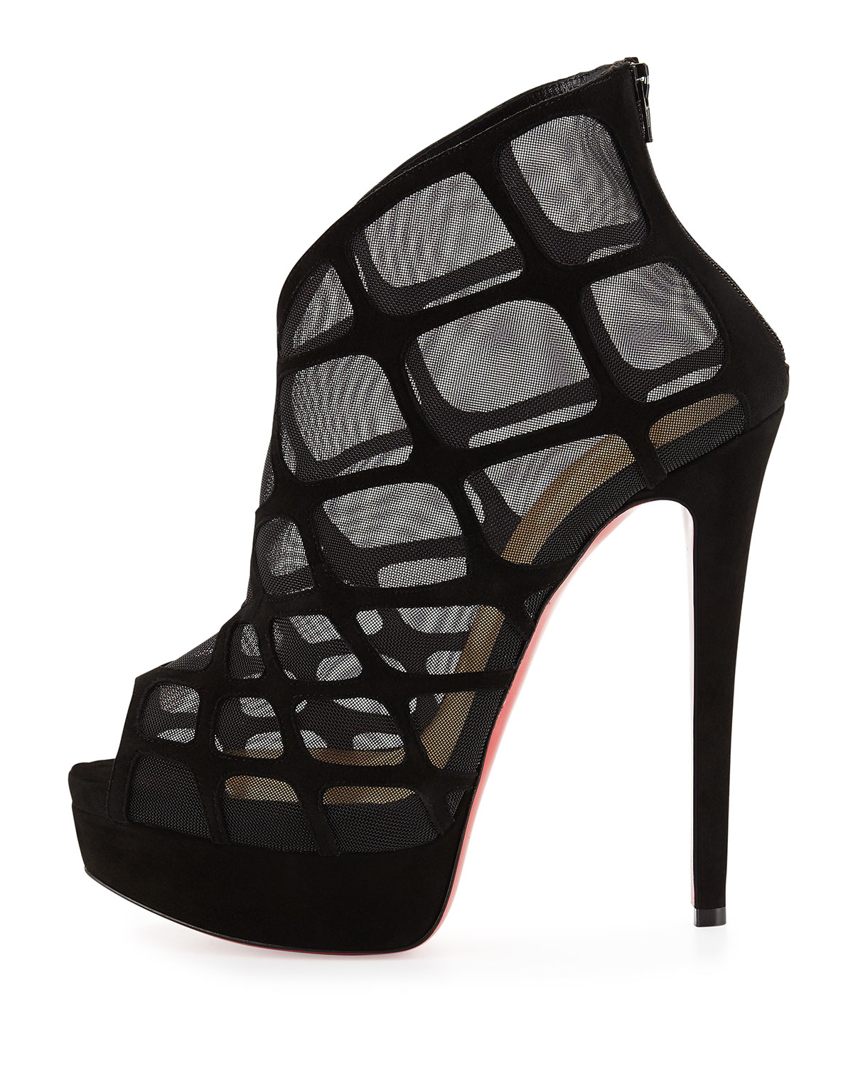 Christian louboutin Altarakna Mesh-caged Red Sole Bootie in Black ...