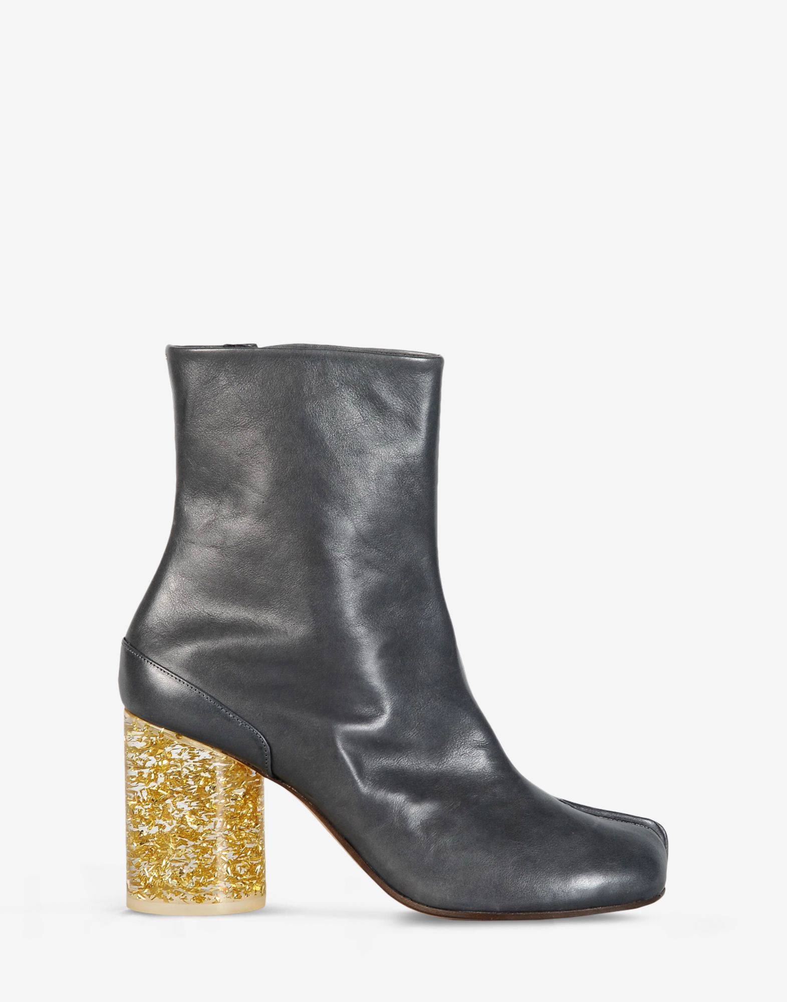 maison margiela leather tabi boots with plexi heel in
