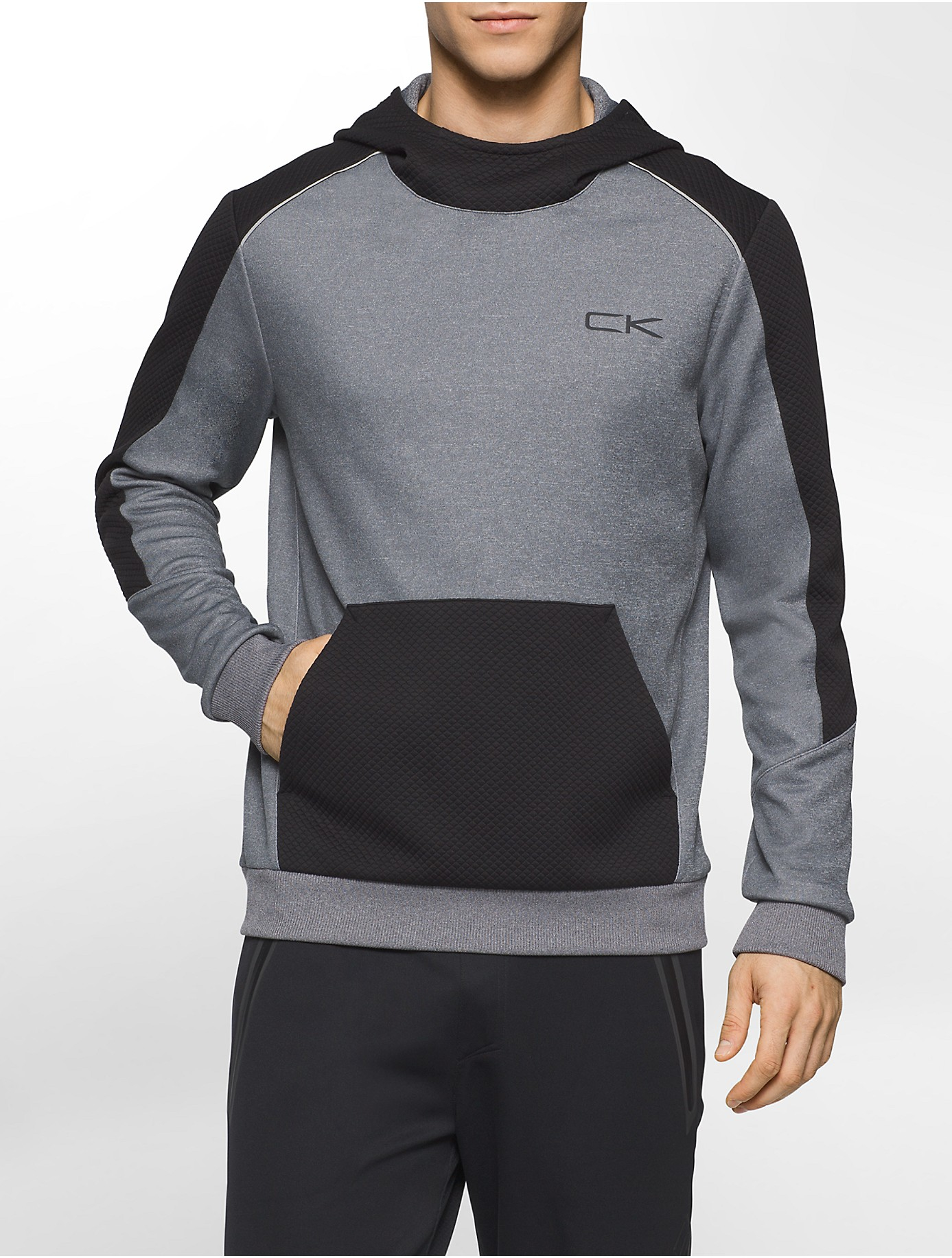 calvin klein white label performance textured fleece hoodie in gray for men lyst. Black Bedroom Furniture Sets. Home Design Ideas