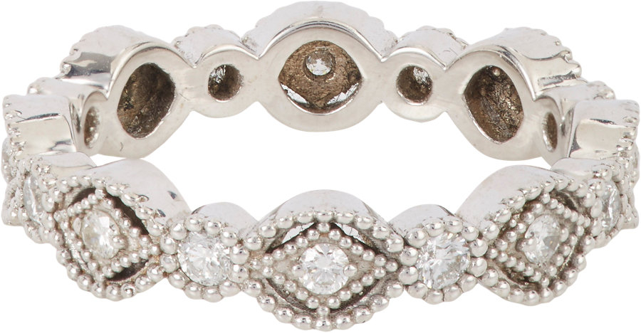 Lyst sara weinstock diamond white gold french lace for Mercedes benz 18k gold ring