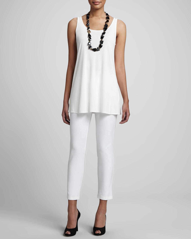 d098f25f0c3 Eileen Fisher Silk Jersey Tunic in White - Lyst