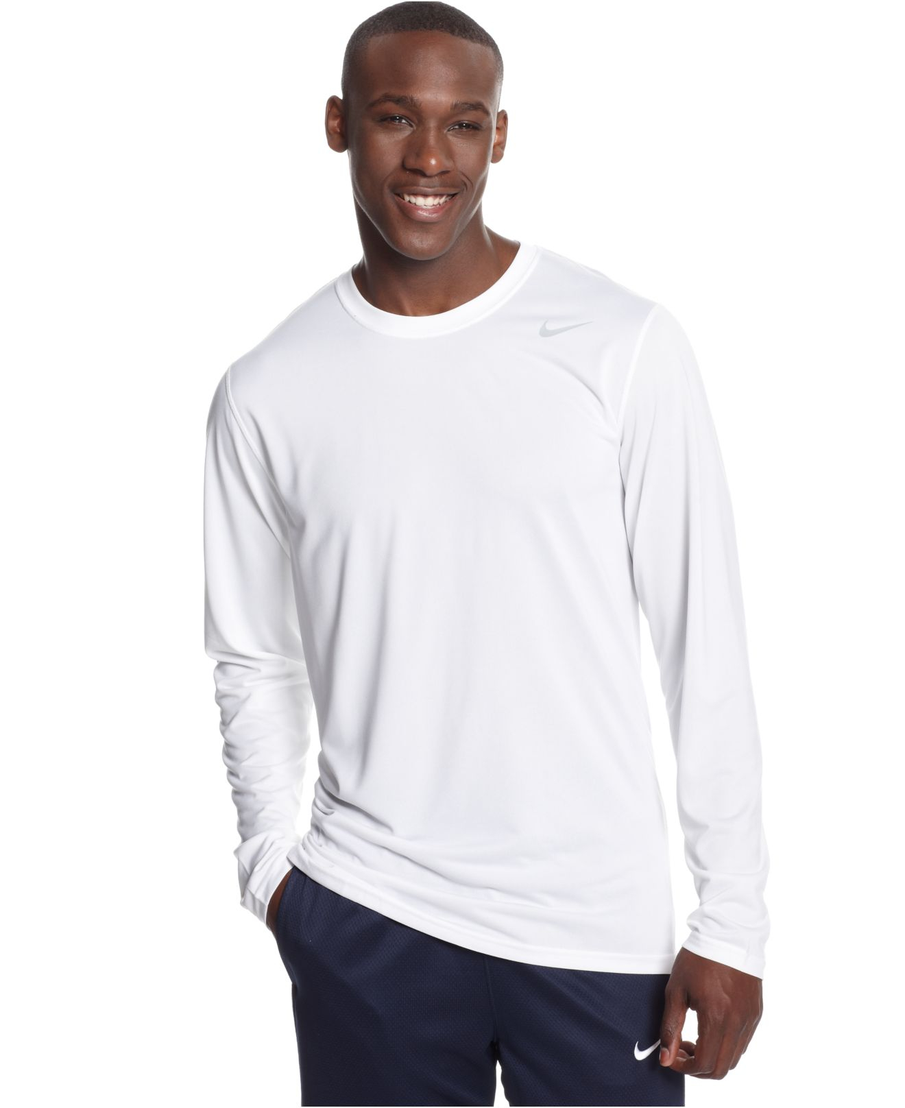 Nike Legend Long Sleeve Dri Fit T Shirt In White For Men
