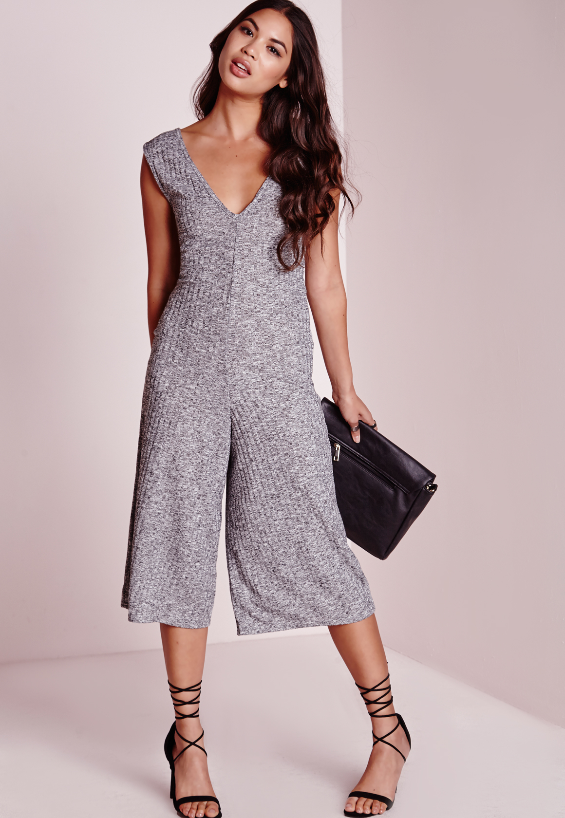 767245c51afc Missguided Grey Rib V Neck Culotte Jumpsuit in Gray - Lyst