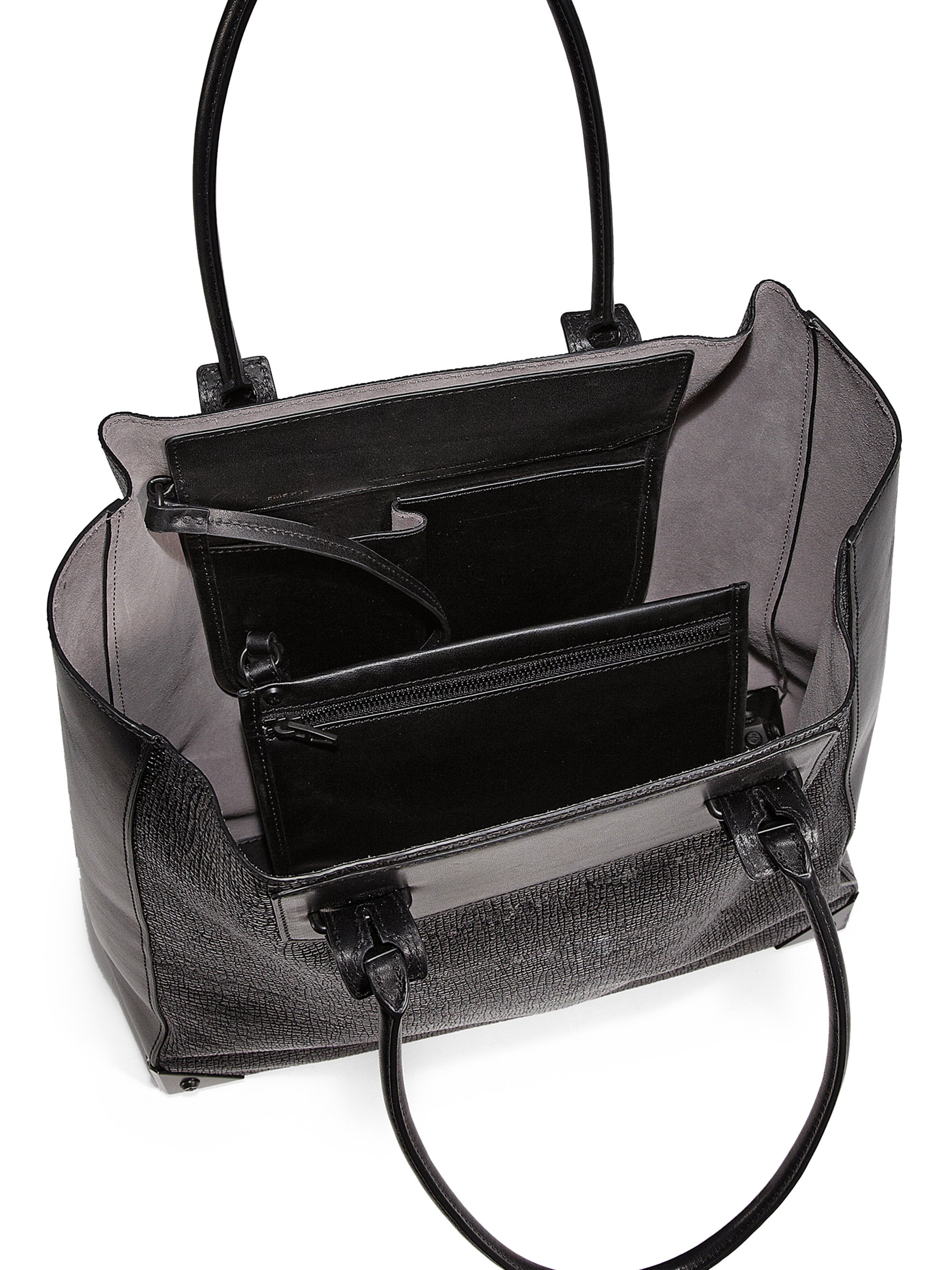 2edc73e7bd32 Lyst - Alexander Wang Prisma Embossed Leather Tote in Black