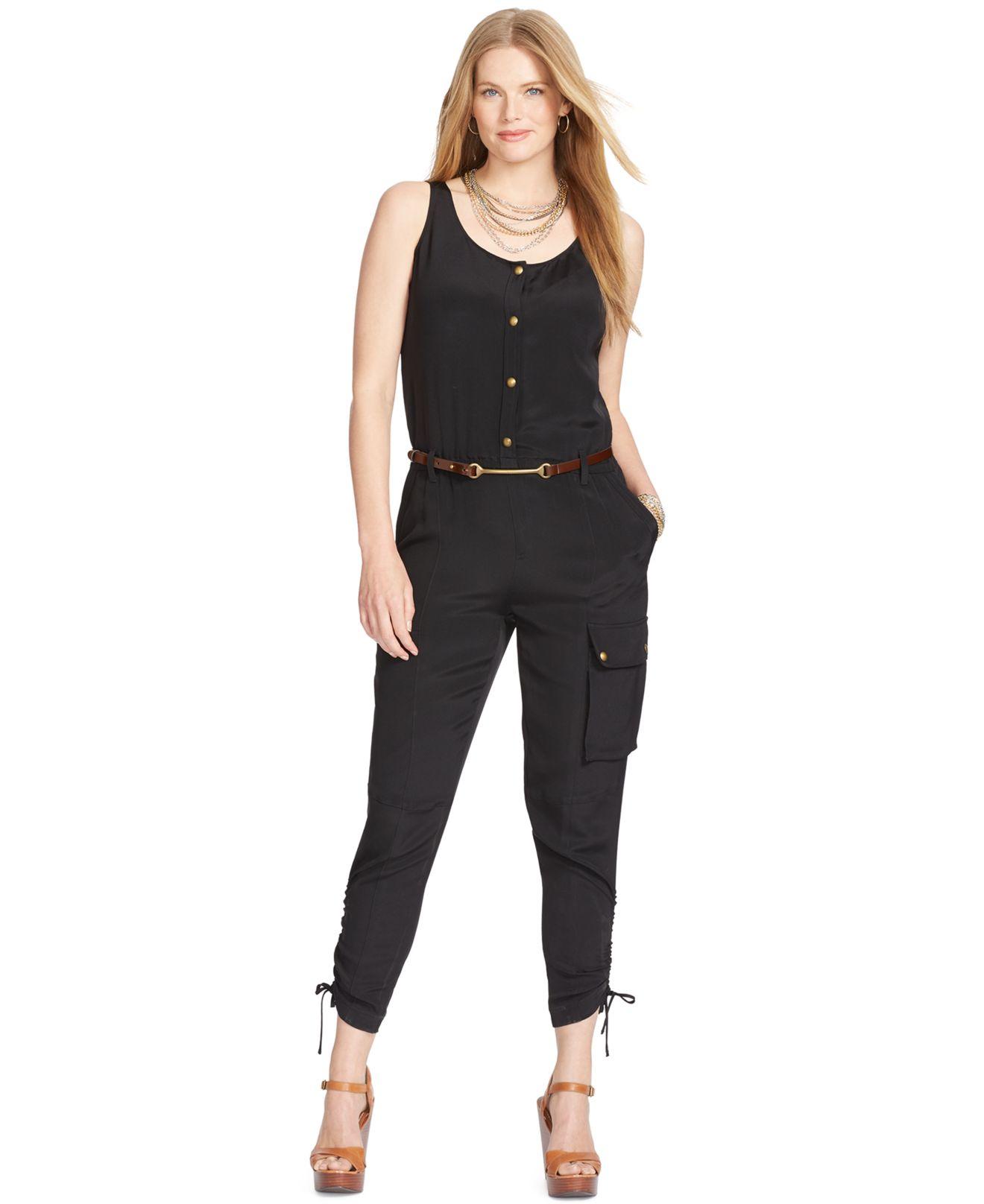 7bc1a9b6f1c4 Lauren by Ralph Lauren Plus Size Snap-Front Jumpsuit in Black - Lyst