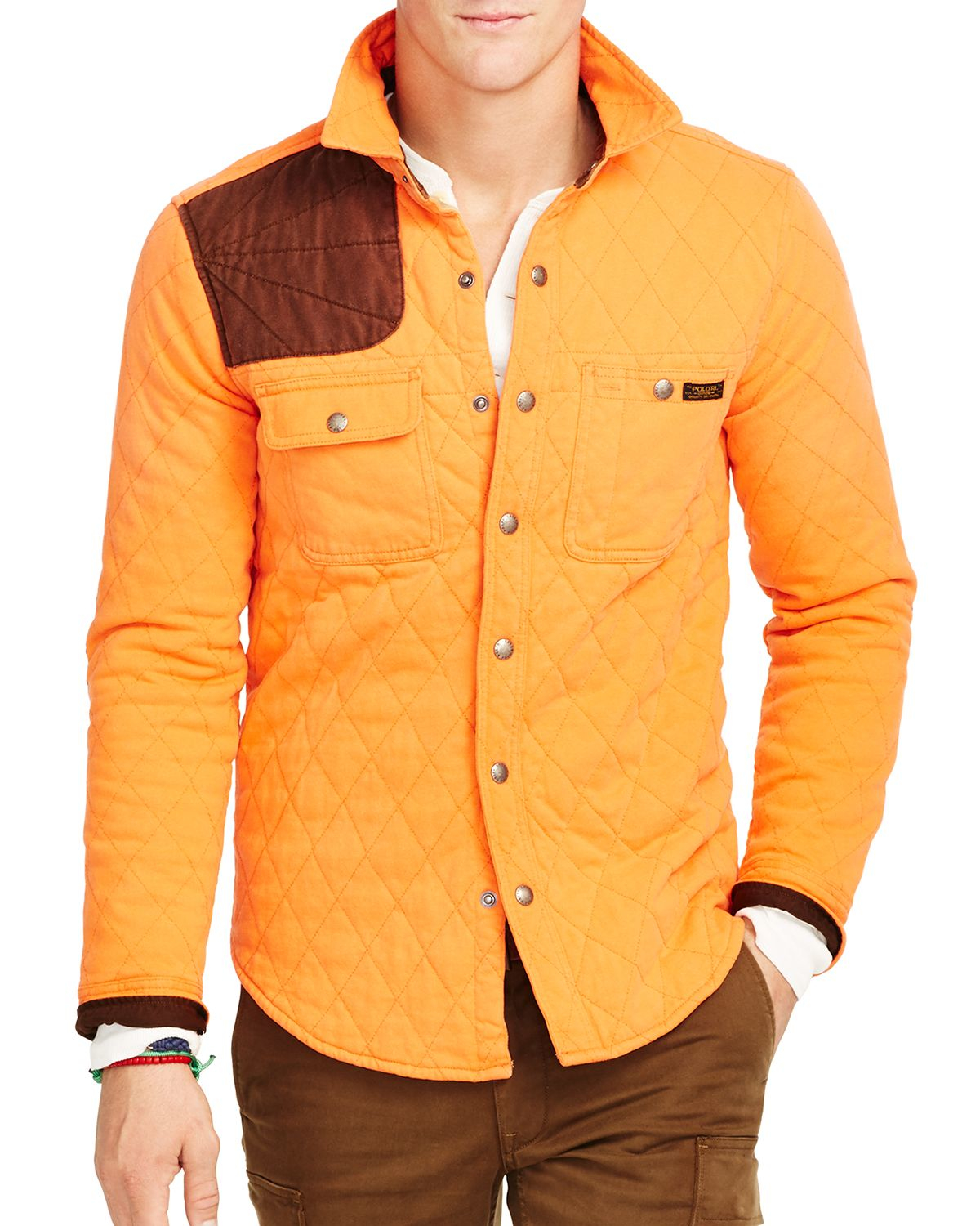 Polo ralph lauren quilted jersey shirt jacket in orange for Polo shirt with jacket