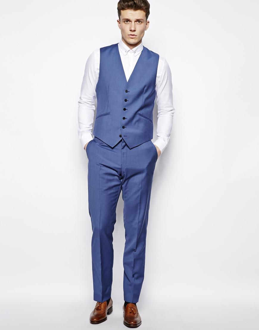 Reiss Suit Waistcoat In Regular Fit in Blue for Men | Lyst