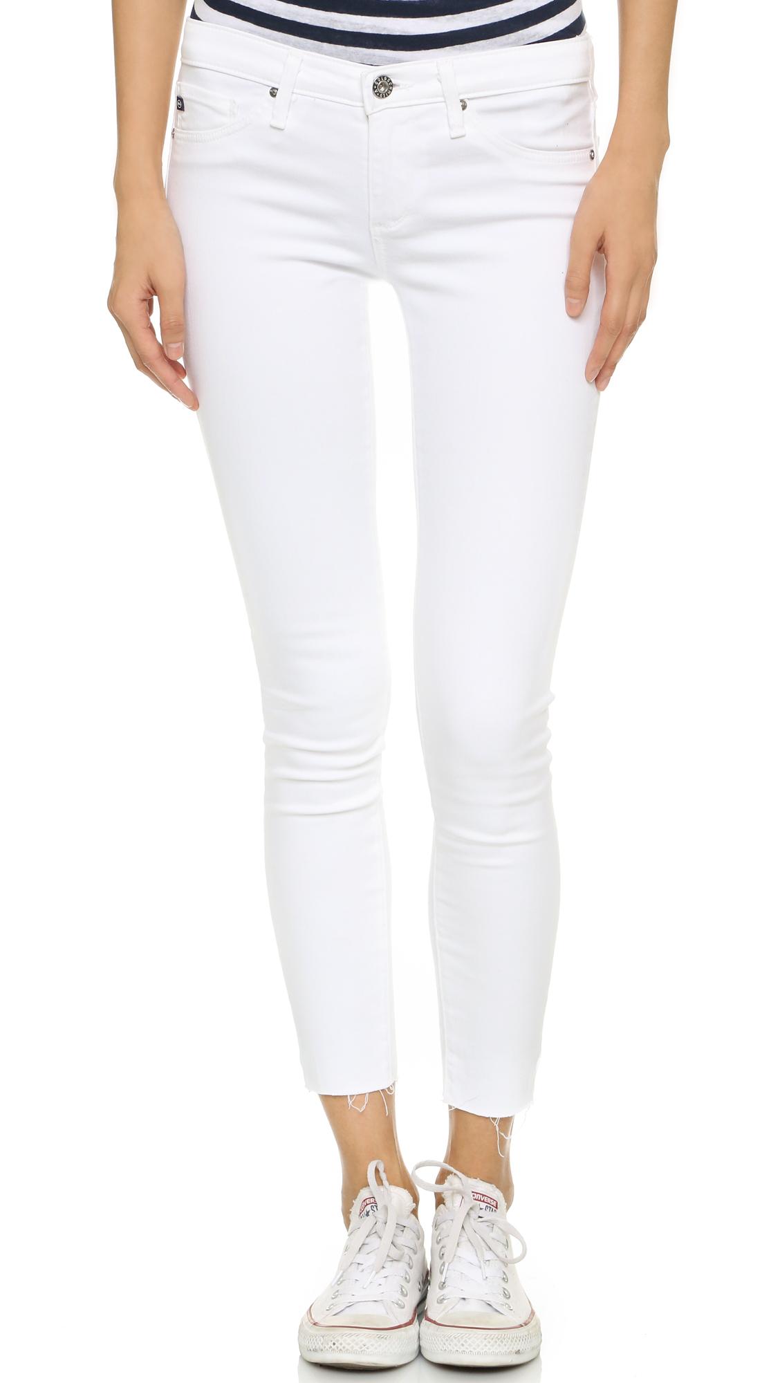 Ag Jeans Raw Hem Legging Ankle Jeans In White Lyst