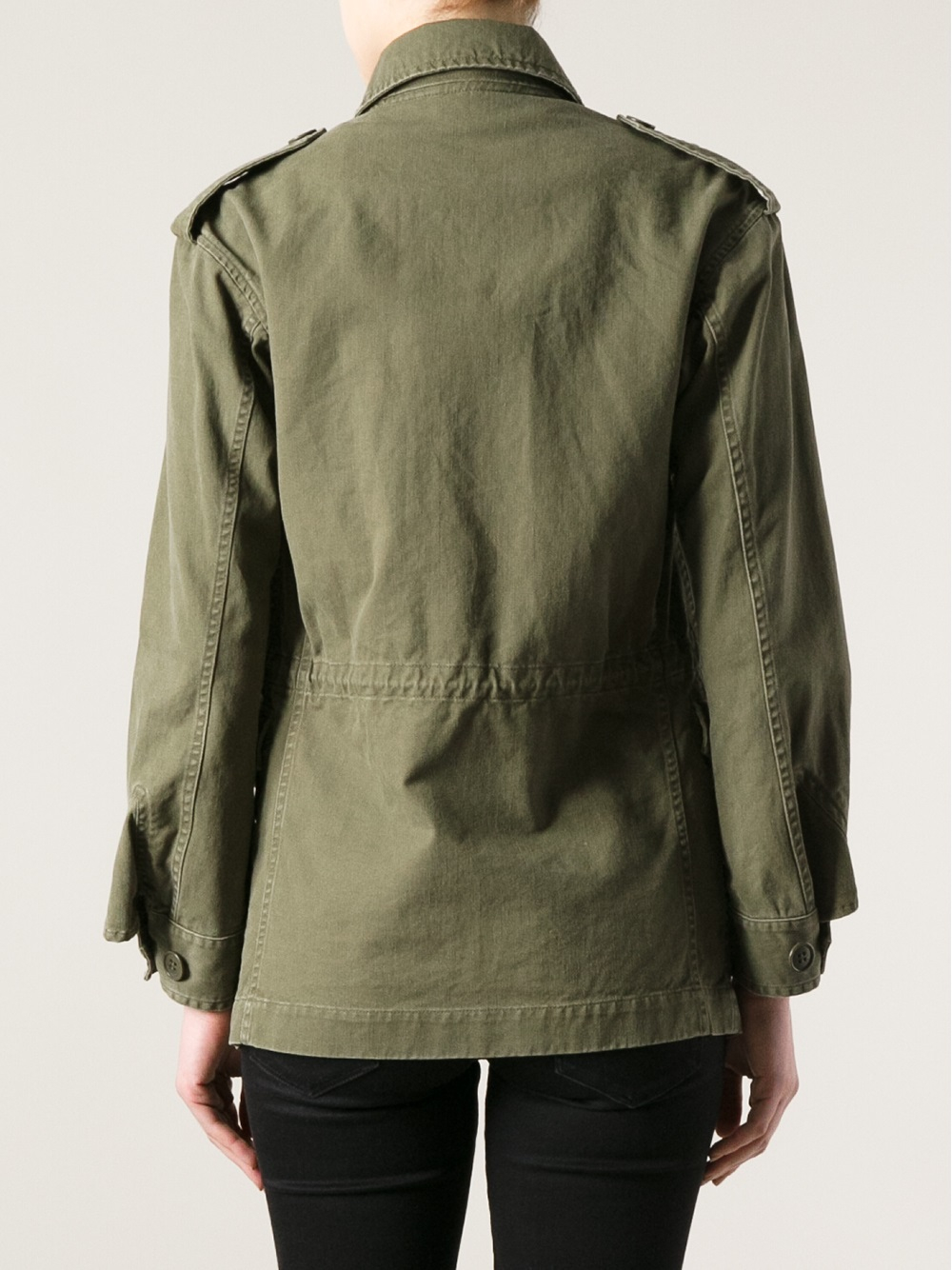 Lyst Saint Laurent Washed Field Jacket In Green
