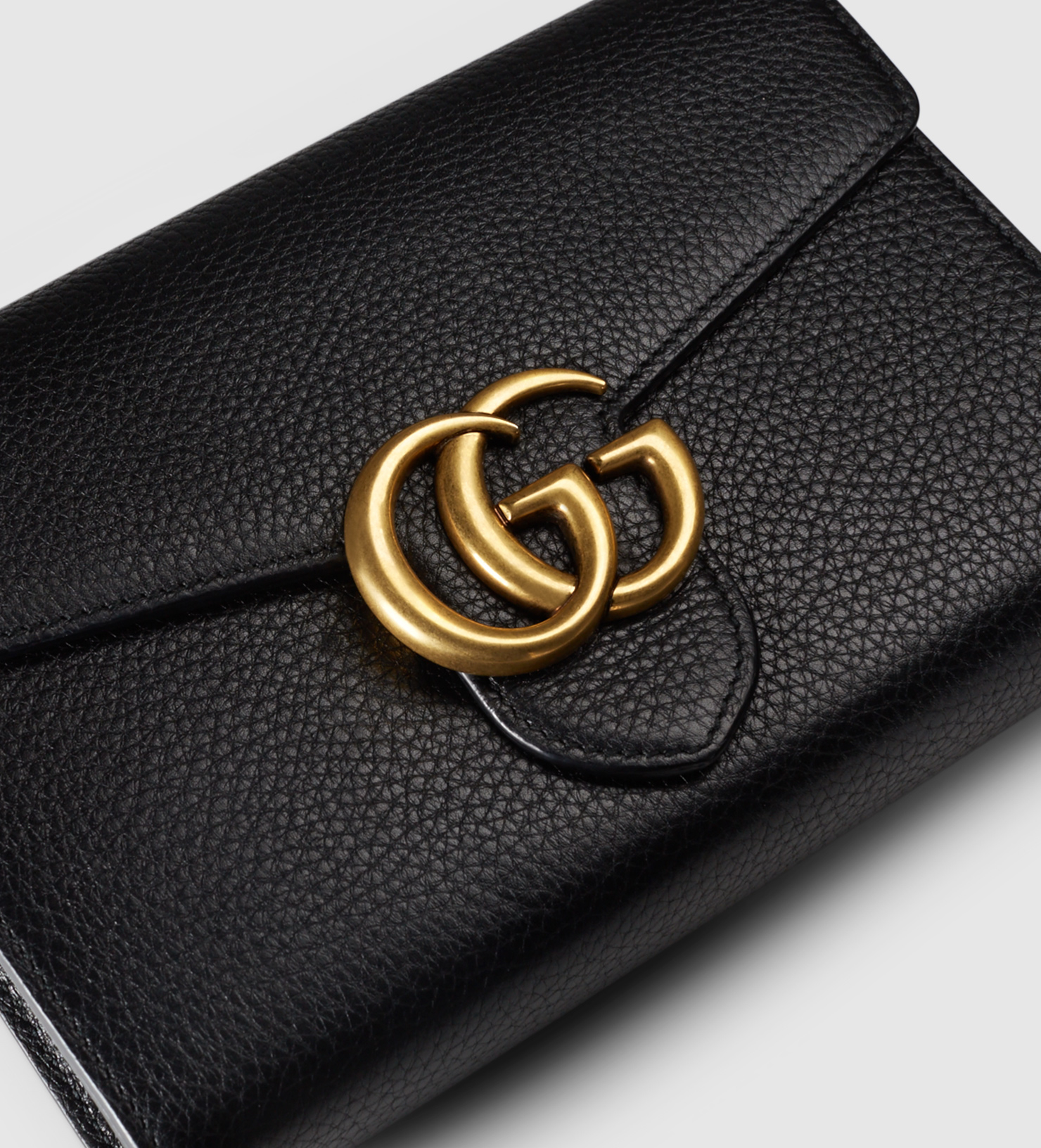 8474e399b357 Gucci Gg Marmont Leather Chain Wallet in Black - Lyst