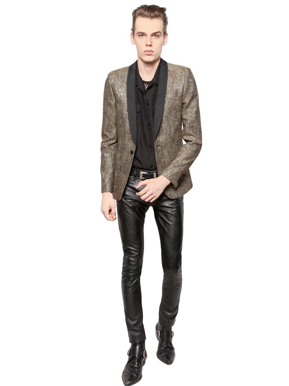 Lyst Saint Laurent Cotton Jacquard Jacket In Metallic