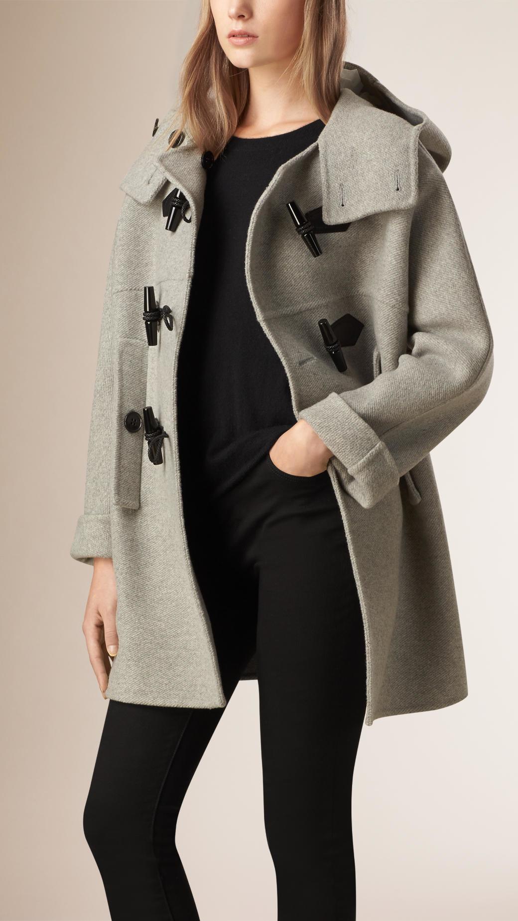 Burberry Oversize Virgin Wool Cashmere Duffle Coat Light Grey ...