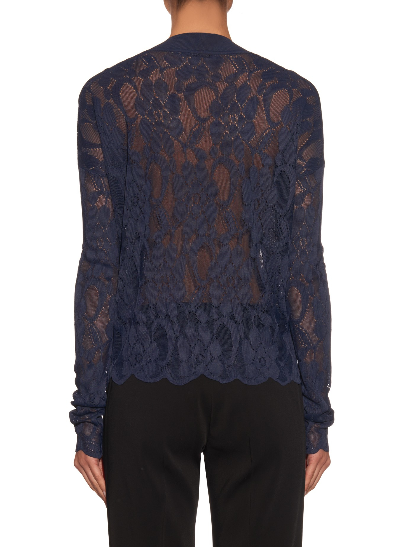 Christopher kane V-neck Lace Sweater in Blue | Lyst