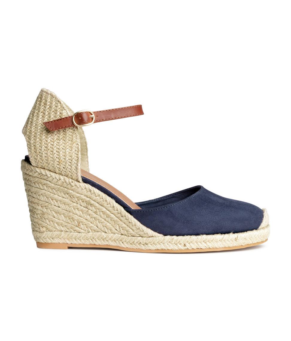 h amp m wedge heel espadrilles in blue lyst
