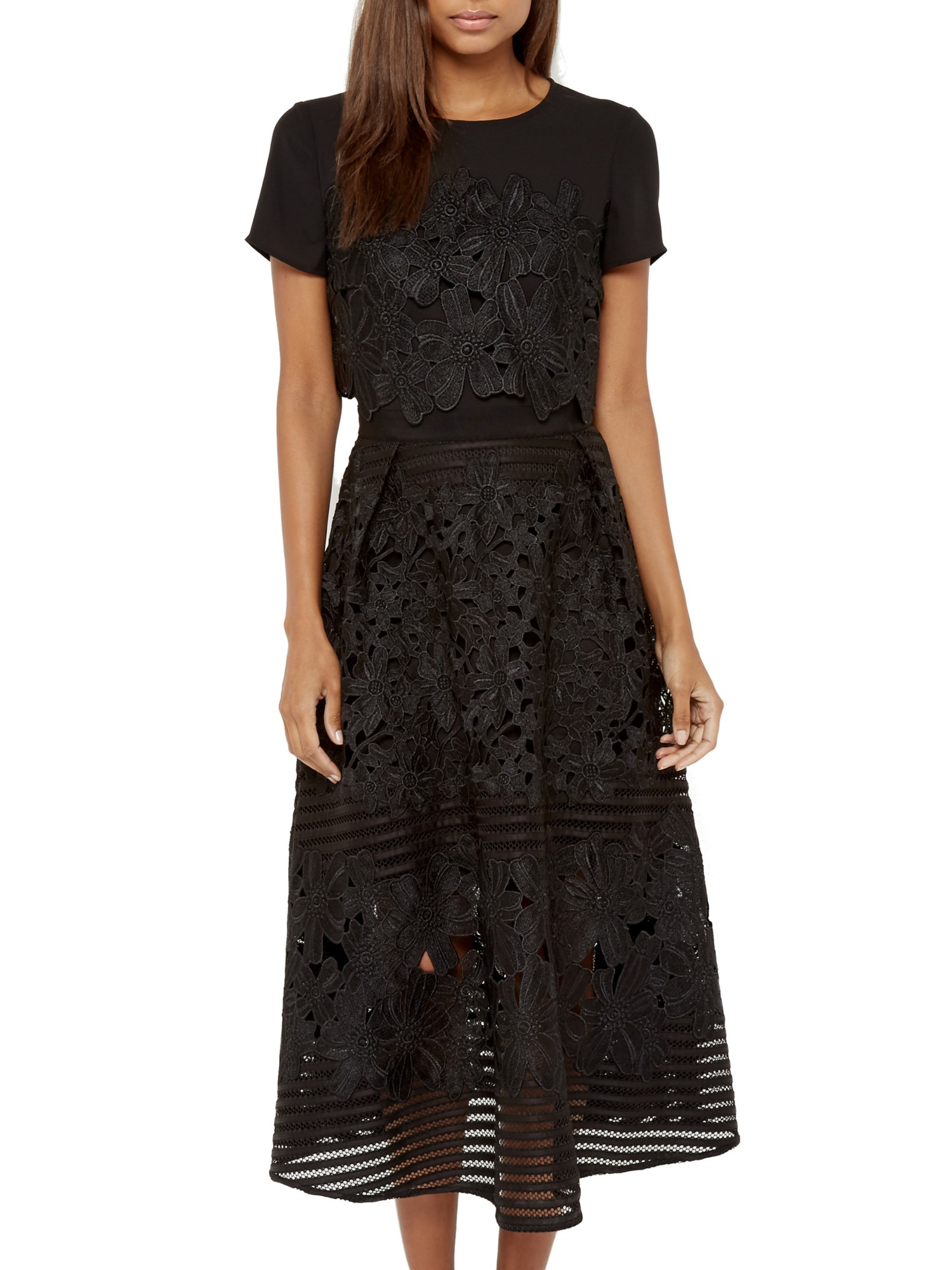 Ted Baker Janelle Layered Lace Midi Dress In Black Lyst