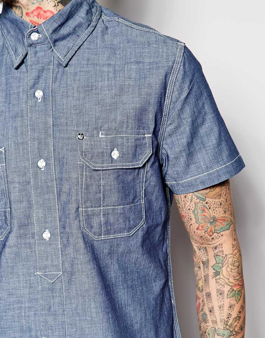 blue collar worker chambray shirt short sleeve logo in