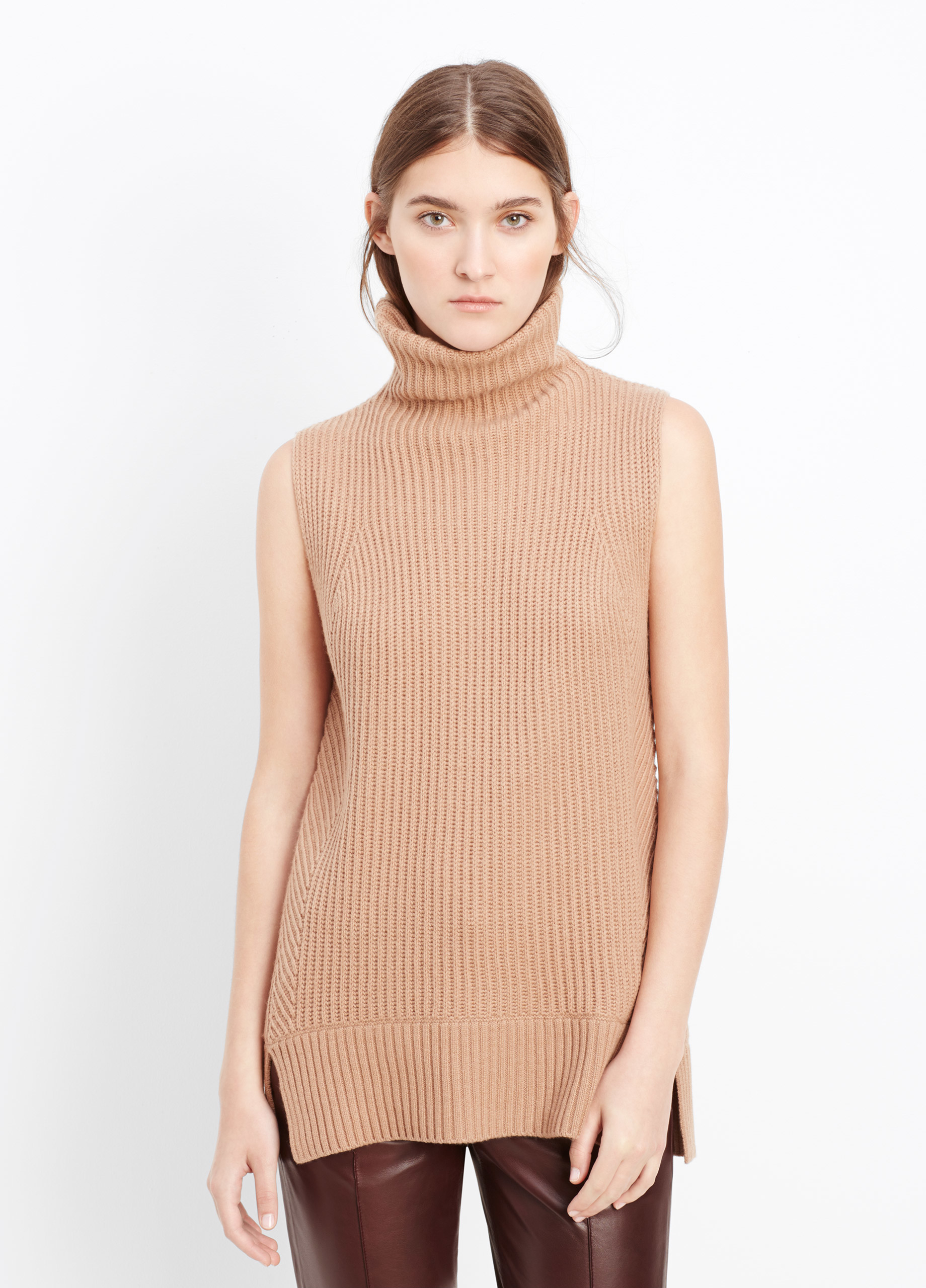45c9ac84350f5 Lyst - Vince Directional Rib Sleeveless Turtleneck Sweater in Brown