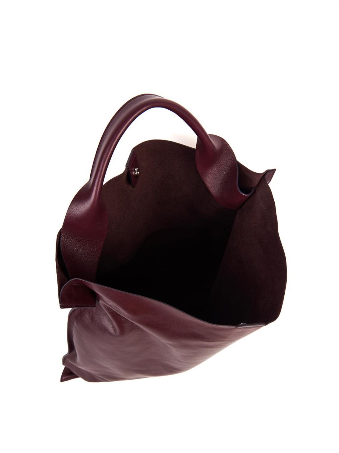 e06fc6fb88b37 Lyst - Jil Sander Xiao Leather Tote in Purple