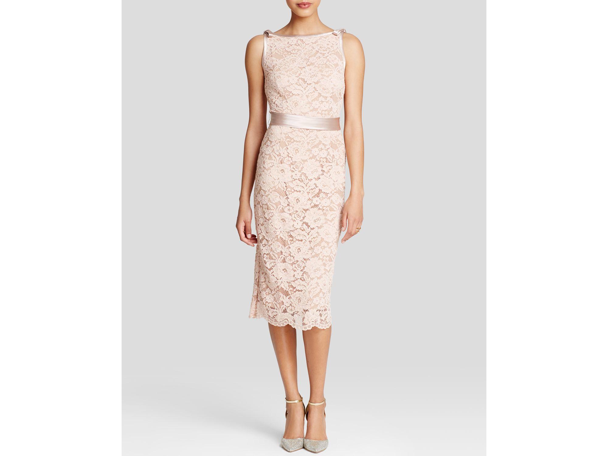 Lyst - Abs By Allen Schwartz Dress - Sleeveless Lace Sheath Midi in Pink