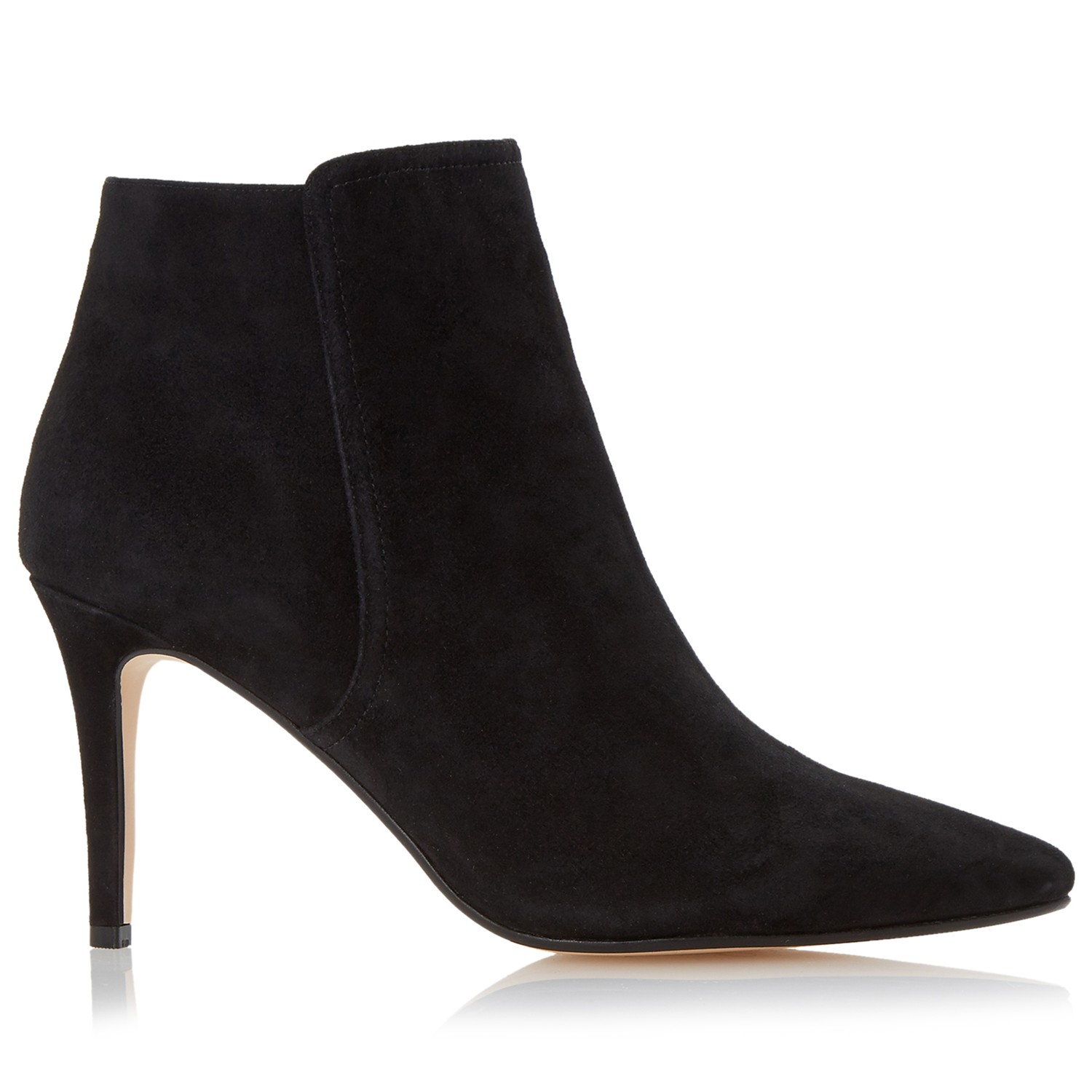 dune orlando suede stiletto ankle boots in black lyst