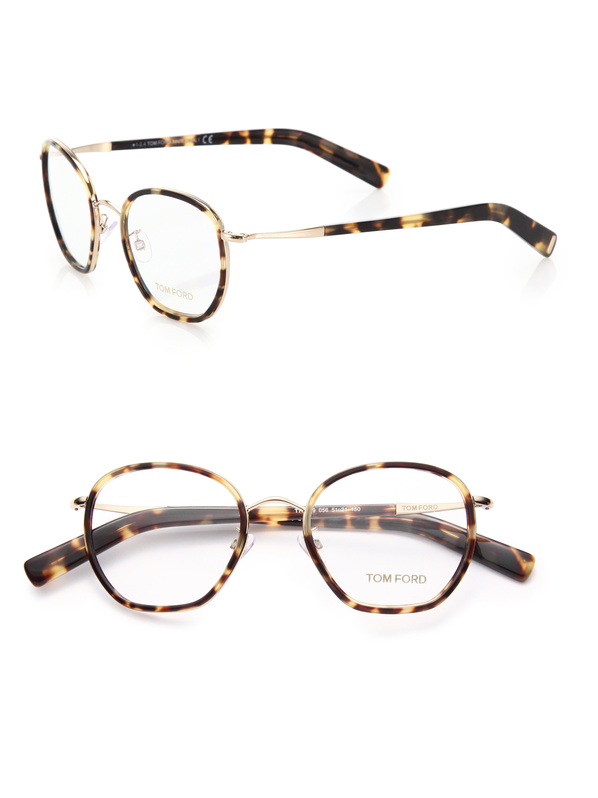 625750d8a3 Lyst - Tom Ford 51mm Round Acetate   Metal Optical Glasses in Brown
