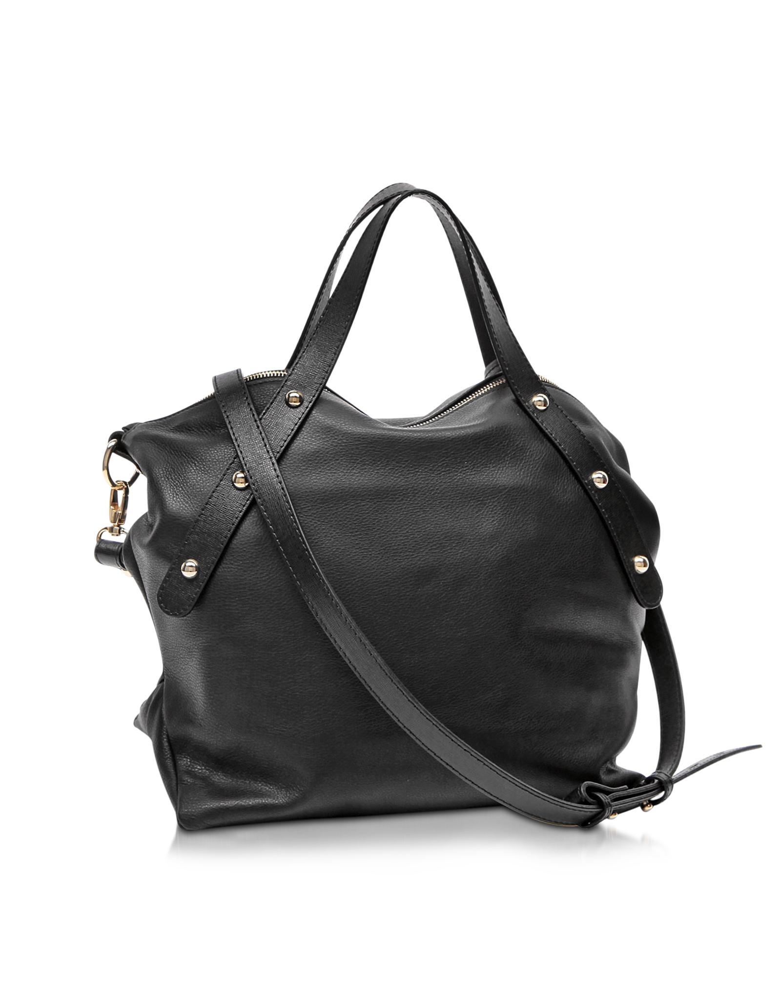 Lyst Francesco Biasia Iris Black Leather Handbag W Shoulder Strap