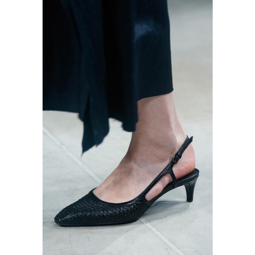 0789b2d8dd8 Lyst - Bottega Veneta Woven Leather Kitten-Heel Pumps in Black
