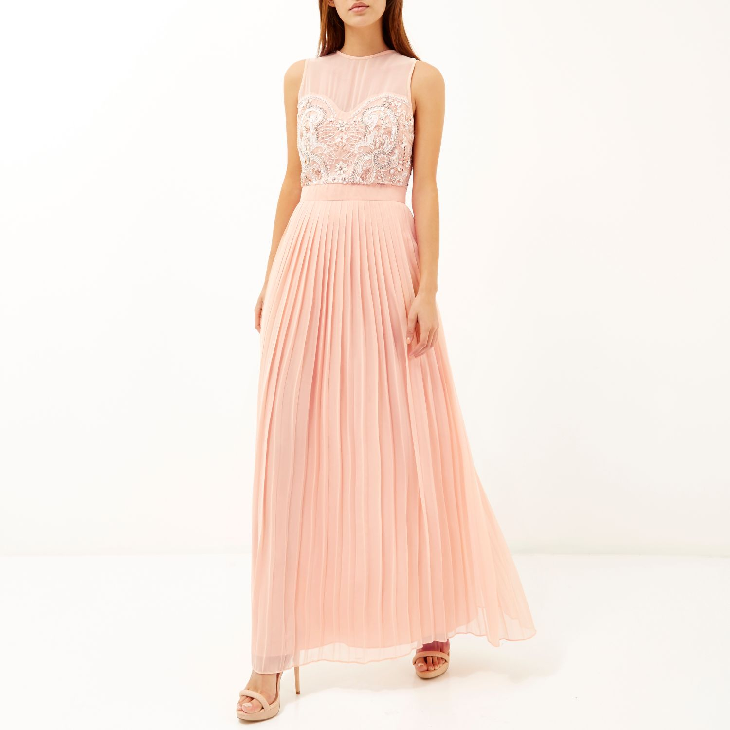 River Island Pink Sequin Embellished Maxi Prom Dress in ...