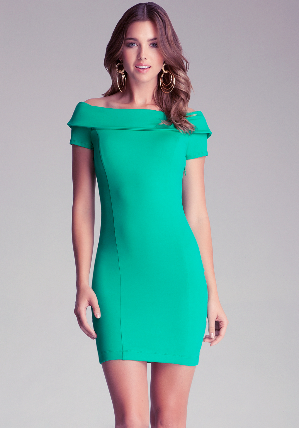 Lyst - Bebe Off Shoulder Bodycon Dress in Green