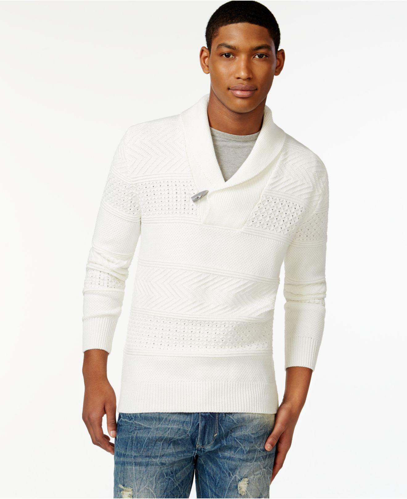 Lyst Sean John Men S Shawl Collar Sweater In Natural