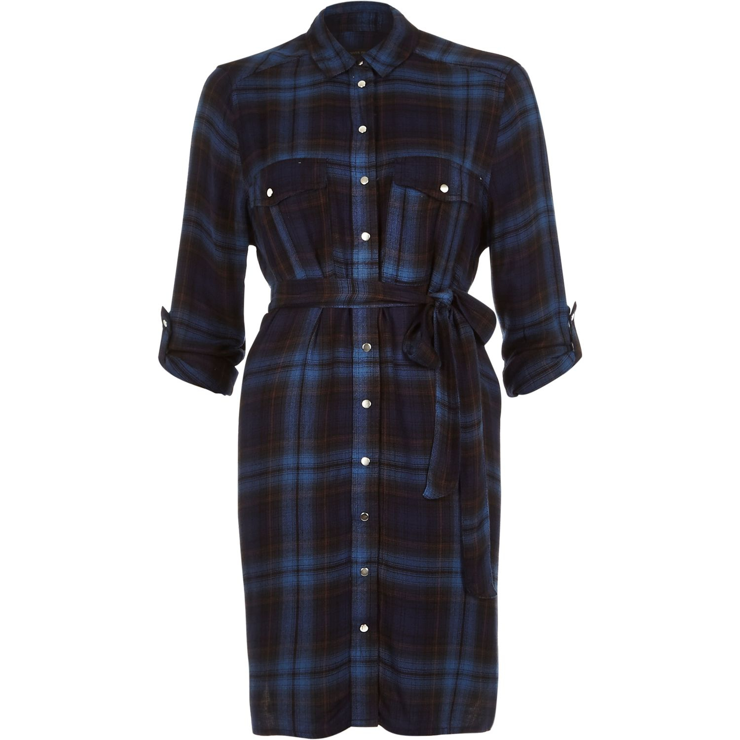 River Island Blue Check Casual Long Sleeve Shirt Dress In