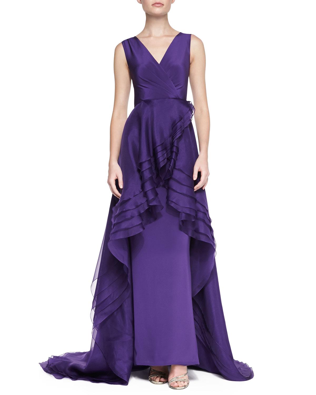 Christian Siriano Sleeveless Cascading Ruffle Gown