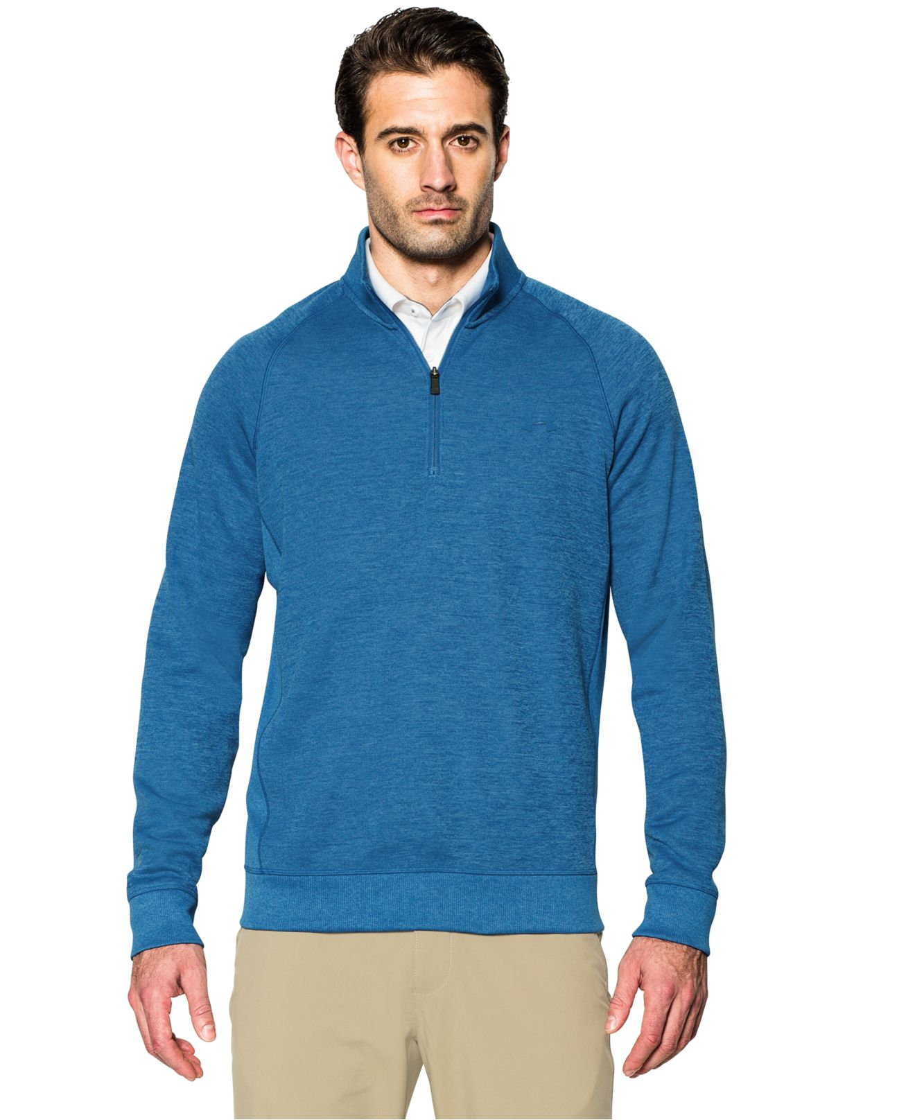 Under armour men 39 s quarter zip storm fleece golf sweater for Flannel shirt under sweater