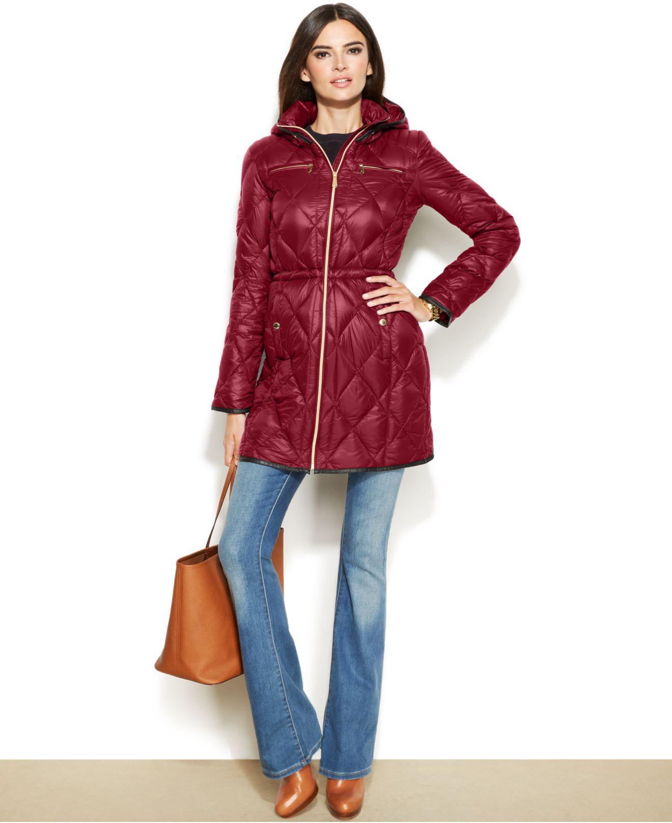 Michael kors Michael Faux-Leather-Trim Down Packable Puffer Coat ...