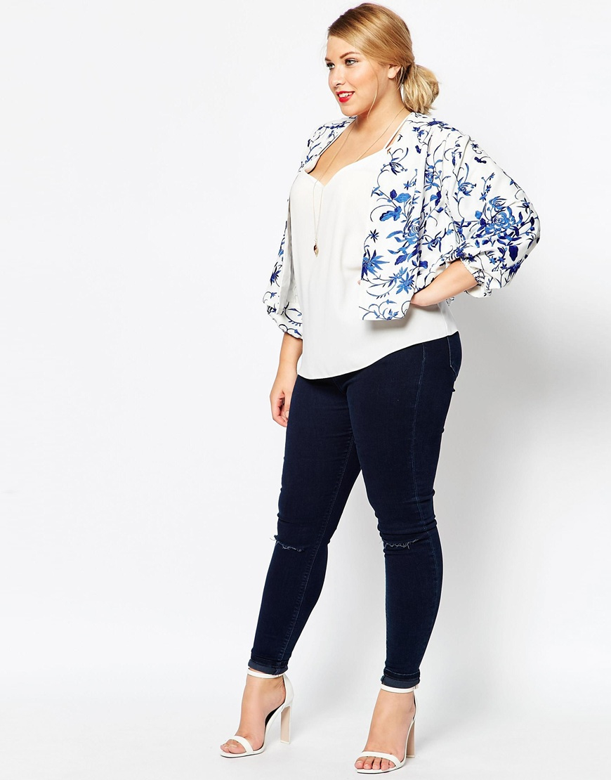 Lyst Asos Curve Embroidered Jacket In Blue