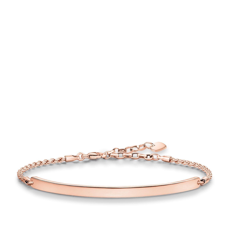thomas sabo love bridge rose gold plated bracelet in pink. Black Bedroom Furniture Sets. Home Design Ideas
