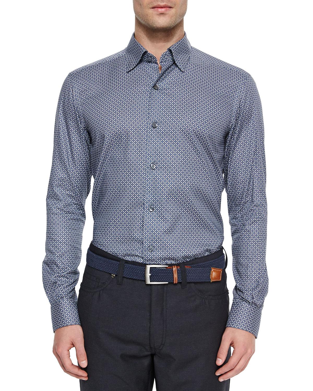 ermenegildo zegna woven circle print sport shirt in blue for men lyst. Black Bedroom Furniture Sets. Home Design Ideas