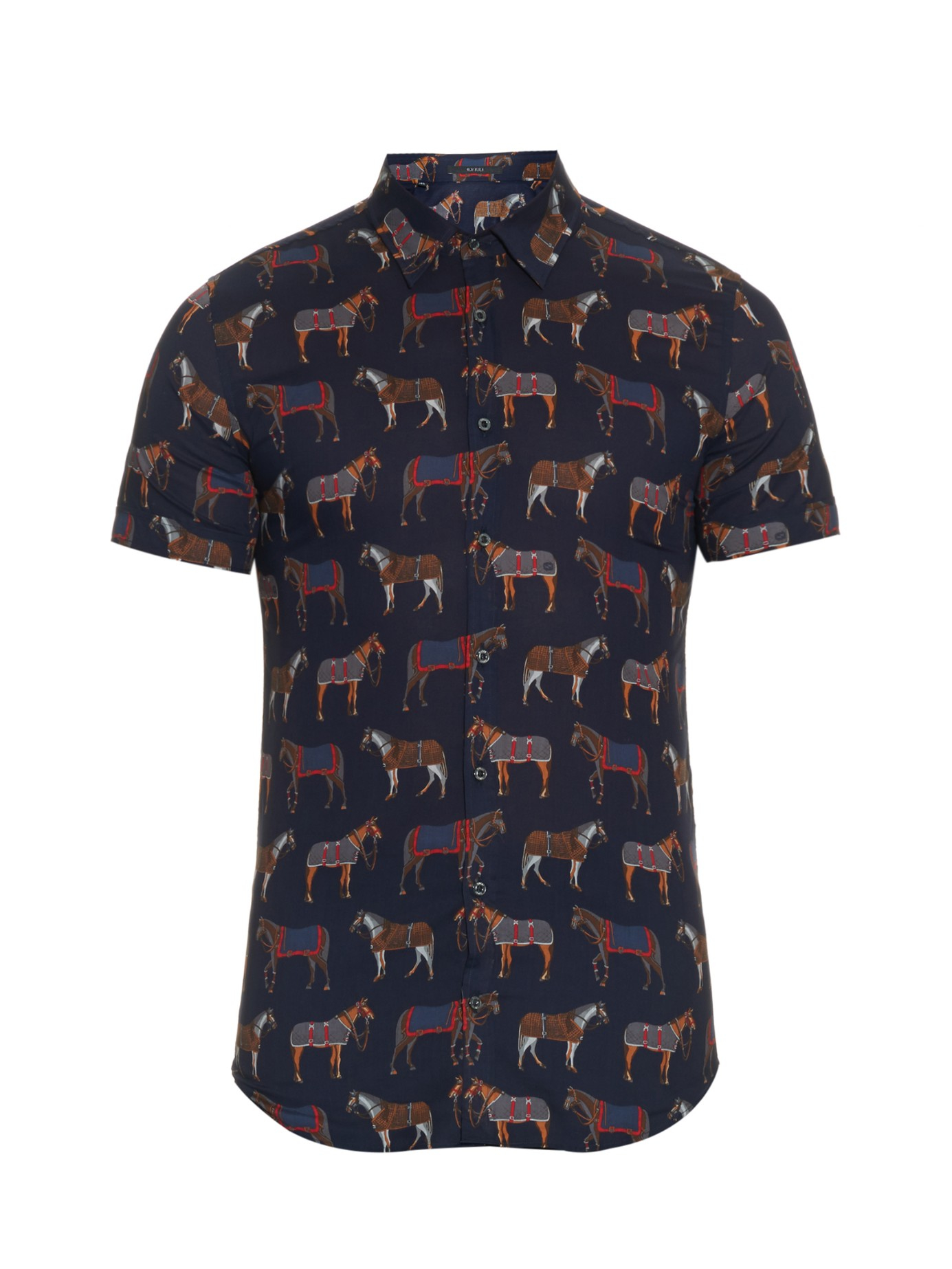 655a597c2da4 Lyst - Gucci Horse-print Cotton Shirt in Blue for Men