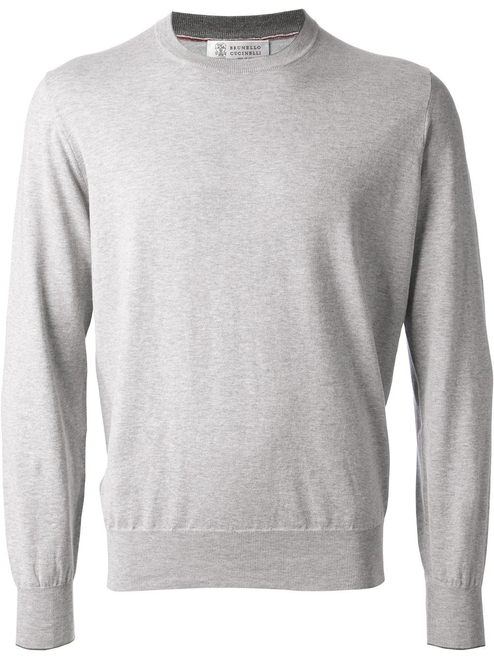 Brunello cucinelli Plain Sweater in Gray for Men | Lyst