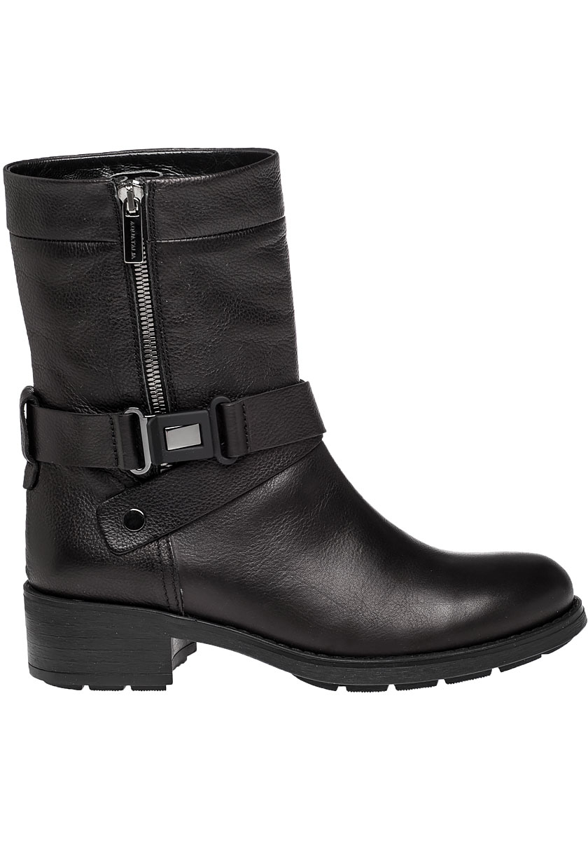 64dcb294435d Lyst - Aquatalia Sami Leather Biker Boots in Black